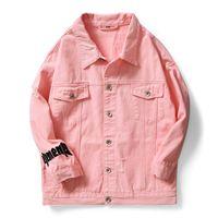 homens jaquetas pretas jean venda por atacado-2019 primavera Garment Lavado Homens rosa branco preto Carta Hip hop Jeans Lavado Jaqueta Streetwear motocicleta Jaquetas Denim casaco