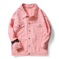 ingrosso jean moto giacca-2019 primavera Indumento lavato uomini rosa bianco nero lettera hip-hop lavato jeans giacca streetwear moto giacche di jeans cappotto