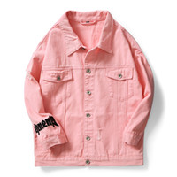 chaqueta de moto jean al por mayor-2019 primavera Prenda Hombres Lavados rosa blanco negro Letra Hip hop Washed Jeans Chaqueta Streetwear motocicleta Denim Chaquetas abrigo