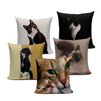 kedi minder yastıkları toptan satış-45x45 cm Yeni Keten Yastık Kapak Siyah Beyaz El boyama Sarı Sevimli Kedi mutfak sandalye Minderi Kapak Ev Dekoratif Yastık Kılıfı
