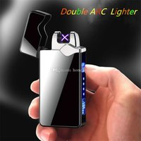Wholesale electronic fire lighter resale online - USB Charging Electronic Cigarette Lighter Double Fire Cross Twin Arc Pulse Electric Lighter Metal Portable Windproof Lighters