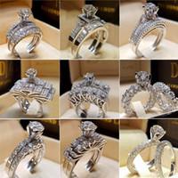 ingrosso anelli di cristallo zircone-New Fashion White Gold Colore Clear Zircon Anelli per le donne Ragazze Regali Fidanzamento femminile Matrimonio CZ Anello di cristallo SJ