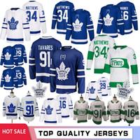 kadri mayo toptan satış-91 John Tavares 16 Mitch Marner Toronto Maple Leafs Erkekler Hokey Formalar 34 Auston Matthews 29 William Nylander 43 Nazem Kadri 19 2019 Lupul