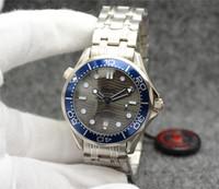 otomatik saatler şeffaf arama toptan satış-42 MM Otomatik Üst 2813 Mekanik Açık Mens Saatler İzle Siyah Dial Paslanmaz Çelik Bilezik Dönebilen Mavi Çerçeve Şeffaf Kılıf Geri