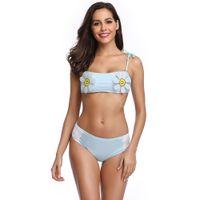 maillot bain bañador brasileño al por mayor-Sexy Bikini Set Traje de baño Mujer Floral Traje de baño Ropa de playa Traje de baño de dos piezas Biquini brasileña Maillot De Bain traje de baño