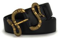 schöne gürtel großhandel-F1-Mode Leder schwarzer Gürtel mit Schlangenbronze Farbe delicated schöne Qualität 3,8 cm breiten Luxusgürtel