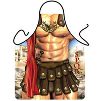Wholesale kitchen apron pvc for sale - Group buy Novelty Cooking Kitchen Apron Roman Warrior Printed Apron Cooking Grilling BBQ