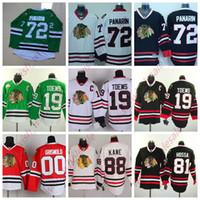 camisas verdes do hóquei venda por atacado-Cheap Chicago Blackhawks Jerseys Jonathan Toews do homem Patrick Kane Artemi Panarin costurado alta qualidade Hockey Jersey Red Verde Branco