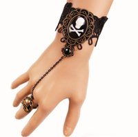 Wholesale pirate ring silver resale online - Pirate Skull Drill Bracelet Female Personality Ring Bracelet Halloween New Product European and American fashion explosive