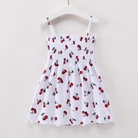 Wholesale new baby party for sale - Baby Girl Clothing Cherry Cartoon Print Girl Flowers Dress New Summer Baby Clothing for Party Dress