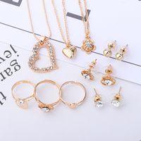 jóias ri venda por atacado-Guvivi Crystal Fashion Jóias Conjuntos para mulheres Presentes de casamento NE + BR + RI coração colares Cadeia Pulseiras Set Acessórios