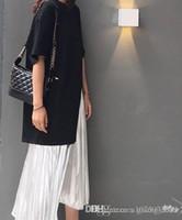 Wholesale korean fork for sale - Group buy Korean version of medium length split fork loose blouse black short sleeved T silver bright pleated skirt half dress skirt skirt