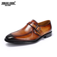 обувь для бизнеса оптовых-FELIX CHU - 2019 ELEGANT MEN BROWN FORMAL SHOES GENUINE COW LEATHER OFFICE BUSINESS BUCKLE STRAP MENS LOAFERS DRESS CASUAL SHOE
