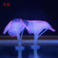 tanque de medusas artificial al por mayor-Fluorescencia USB Coral Simulación artificial Medusa Planta Brillan en la oscuridad Decoración del acuario 3 5ly UU