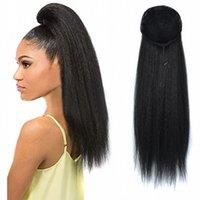 pferdeschwanz 22 zoll groihandel-Sara Vigorous Long Kinky Puffy Clip im Pferdeschwanz für Damen 55CM, 22 Zoll Fake Hair Extension brasilianische Frisur Haarteil