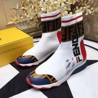 señoras corriendo zapatos de goma al por mayor-2019 más nuevas mujeres de marca de tela multicolor zapatillas de deporte de dama negro estiramiento Knit Running suela de goma zapatos deportivos 35-45