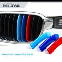 espejo de vinilo autoadhesivo al por mayor-Pegatinas de emblema de coche para BMW X5 E53 E70 F15 G05 X6 E71 F16 X1 E84 F48 X3 G01 F25 X4 G02 F26 BMW M Accesorios Tiras de la parrilla delantera