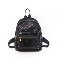 Wholesale ladies rucksack handbags resale online - Women Sequin Bling Glitter Rucksack Backpack Handbag Anti theft Ladies Shoulder Pu Backpack Girls Small Travel School Bag