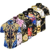 chaînes de chien de mode achat en gros de-Designer 2018 été Automne Harajuku Medusa chaîne en or / Chien Rose imprimer Hommes chemises Fashion Retro Hommes manches courtes tops chemises taille asiatique