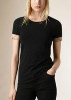 kadınlar beyaz tişörtler toptan satış-2018 Yeni Yaz Kadın Marka% 100 Pamuk tişörtleri Moda Ekose Kısa Sleece O-Boyun Bayanlar Tees Siyah Beyaz Kadın Tişört S-XXL Tops