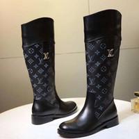platform diz üstü çizmeler toptan satış-Bayan Moda Ayakkabı Bot Fermuar Diz Yüksek Çizmeler Platformu Yuvarlak Ayak Düz Topuk Çizmeler Sonbahar Kış Kadın Ayakkabı Artı Boyutu 43 Bottes Femmes
