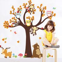 etiquetas da parede do animal da floresta venda por atacado-Animais da floresta dos desenhos animados adesivos de parede bonito da coruja macaco urso árvore adesivos para crianças diy adesivos de parede kid room decoração home decor