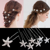 Wholesale Starfish Hairpins U Clip Silver Plated Bridal Hair Clip Wedding Hair Jewelry Wedding Dress Accessories Bridal Headwear Cheap
