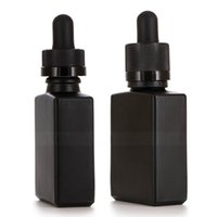 vidrio de manipulación al por mayor-Factory 30ml Black Glass Dropper Bottle Square Shape 1OZ E liquid Bottles with Child Proof Tamper Evident Cap
