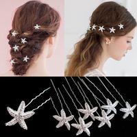 pasadores en forma de u al por mayor-20 unids / lote estilo coreano mujeres horquilla niñas accesorios para el cabello de cristal en forma de U estrella de mar pinzas para el cabello boda nupcial Barrette Horquilla