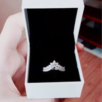 kron kutusu toptan satış-Prenses taç CZ Elmas Yüzükler Orijinal Kutusu Pandora için Kadınlar için 925 Ayar Gümüş Alyans Set Kızlar