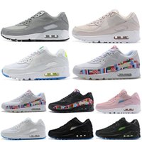 ingrosso bandiere bianche nere-Nike Air Max 90 90s Shoes Scarpe da corsa Triple Bianco Nero Undefeated Pack All-Star Jersey Have a Day Uva South Beach Silver Bullet Uomo Donna Sport Sneakers 36-45