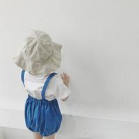 гетры синего малыша оптовых-Малыш детские мальчики девочки подтяжки шорты сплошной синий ремень летняя детская одежда милые леггинсы