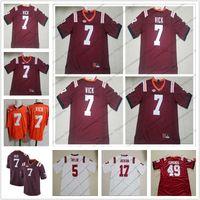 preços de camisola de futebol venda por atacado-Virginia Tech Hokies # 7 Michael Vick Costurado Número Nome Logotipo Vermelho Futebol Jersey Qualidade Superior Melhor Preço S-3XL