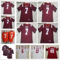 ingrosso i prezzi del pullover di calcio-Virginia Tech Hokies # 7 Michael Vick Cucito Nome Numero Logo Maglia da calcio rossa Migliore qualità S-3XL