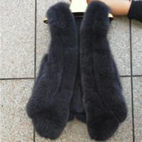 colete de lã de pele venda por atacado-Colete de pele Feminina Longa Seção 2019 Moda Fox Fur Cinco Coroas Seção Fina Novo Quente Quente Colete De Lã