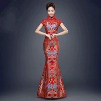 chinese trajes tradicionais mulheres venda por atacado-Chinês tradicional Vermelho Chinês Tradicional para Mulheres Festa de Casamento Fishtail Antigo Qipao Senhora Cheongsam Vestido de Festa À Noite Traje 89