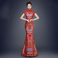 ingrosso donne costumi tradizionali cinesi-cinese tradizionale rosso cinese tradizionale per le donne della festa nuziale coda di pesce antica qipao signora cheongsam abito da sera costume da festa 89