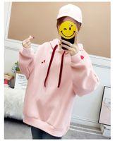 rosa lila trainingsanzug großhandel-Herbst Herz gedruckt Frauen Kapuzenpulli rosa lila süße Trainingsanzüge lässig weibliches Sweatshirt Fleece dicke koreanische Kapuzenpullis XXL