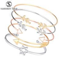Wholesale gold triangle bracelet chain resale online - New Arrival Triangle Leaf Open Bracelet for Women Geometric Cuff Bangle Punk Silver Gold Adjustable Charm Bracelet Valentine s Day Jewelry Y