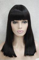 peluca de longitud media marrón oscuro al por mayor-ENVÍO GRATIS + Calor de longitud media ok peluca de cleopatra de teatro de piel de punto marrón oscuro