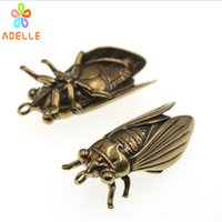Wholesale vintage car gifts resale online - 2x Solid Brass Chinese Cicada Vintage Carving Handmade Keyring Car Accessory DIY Jelwery Pendant Gift Finding