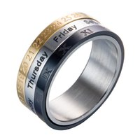 Wholesale rotary timing for sale - Group buy Pay4U Titanium Steel Colors Rotary Tricolor Calendar Ring Time To Time Turn Ring