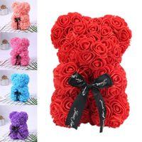 ingrosso scatole di regalo di natale-Romantice Rose Bear con scatola per la festa di San Valentino regalo di compleanno festa di compleanno anniversario presente decorazione