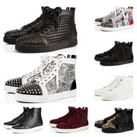 Wholesale gold studded mens shoes for sale - Group buy 2020 designer shoes Studded Spikes fashion Red suede leather Mens Womens flat bottoms luxury shoes Party Lovers Sneakers size with box