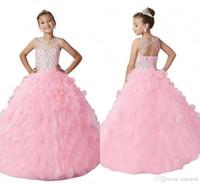 açık arka korse elbisesi toptan satış-Yeni Varış Uzun Pembe Kız Pageant Elbiseler Aç Geri Illusion Boyun Sparkly Boncuk Ruffles Korse 2019 Düğün Çiçek Kız Elbise Ucuz