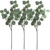 greens de natal artificiais venda por atacado-3 Pcs folha artificial spray em verde 25,5 polegadas de altura Verdura Artificial Verdes do feriado de Natal Verdura
