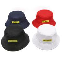 siyah kırmızı güneş şapka toptan satış-Özel Komik tasarımcı kap yaz Siyah Beyaz Kırmızı Çocuk Çocuk Kadın erkek Geniş Ağız Balıkçılık Güneş Koruma Kova Balıkçı Şapka ...