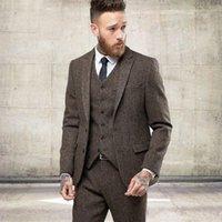 smokings modernos venda por atacado-2019 Novos Dois Botões de Lã de Tweed Homens de Inverno Ternos Formais Magros Smoking de Casamento Blazer Moderno Suave 3 Peça Homens Ternos (Jaqueta + calça + colete)