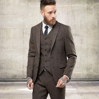 Wholesale burgundy skinny suit for sale - Group buy 2020 New Two Buttons Tweed Wool Winter Men Suits Formal Skinny Wedding Tuxedos Gentle Modern Blazer Piece Men Suits Jacket Pants Vest