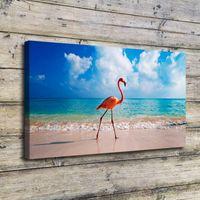 обрамленные отпечатки птиц оптовых-Flamingo Bird Beach, Домашний декор HD Печатная картина современного искусства на холсте (без рамы / рама)